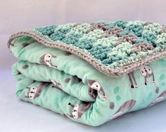 Sloth, crochet baby blanket, baby shower gifts, nursery blanket, reversible crochet blanket, crochet afghan, travel blanket, baby afghan