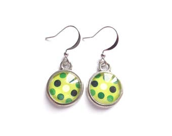 Glass Earrings, Cabochon Earrings, Lime Green Earrings, Polka Dot Earrings, Modern Earrings, Polka Dot Jewelry, Gift For Her