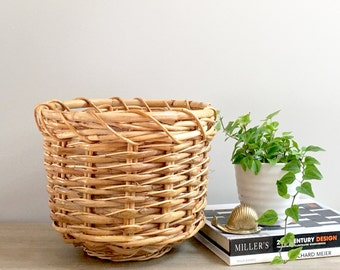 Vintage Woven Rattan Planter Bamboo Bentwood Indoor Basket Planter Rustic Boho Chic