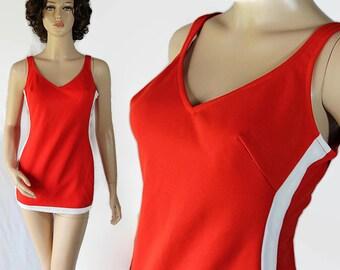 70s Rose Marie Reid Swimsuit Red Orange Maillot