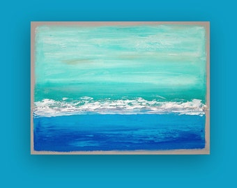 "Art Abstract Beach Acrylic Large Abstract Painting Original Art on Canvas by Ora Birenbaum Titled: Swept Away 18 30x40"" Unstretched"