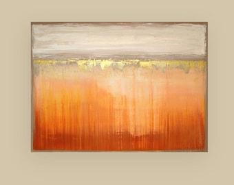 "Art,Painting,Acrylic,Abstract, Orange, Peach, Abstract, Acrylic Painting Canvas by Ora Birenbaum Titled: Umber Glow 30x40x1.5"""