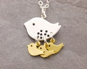 Mom Necklace, 1-3 kids, twins, triplets, mother necklace, baby bird necklace, baby shower jewelry, expecting mom, gifts for mom, N12
