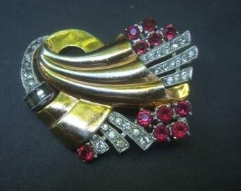 1940s Opulent Art Deco Crystal Brooch