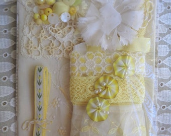 Inspiration Kit Vintage Yellow Trim Buttons Appliques Linen and More #2