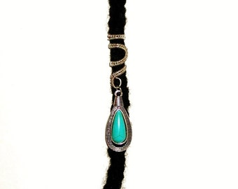 Dreadlock Jewelry - Silver and Turquoise Tear Drop Pendant Loc Jewel