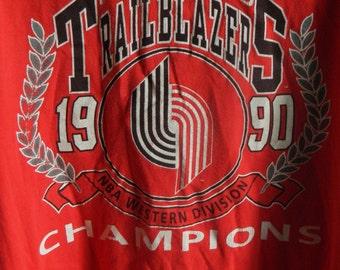 Vtg Portland Trailblazers RIP CITY XL Shirt, Portland Blazers Shirt, Blazers Basketball Championship Shirt, Red Blazers Shirt