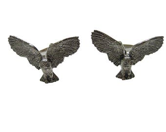 Silver Toned Textured Owl Bird Pendant Cufflinks