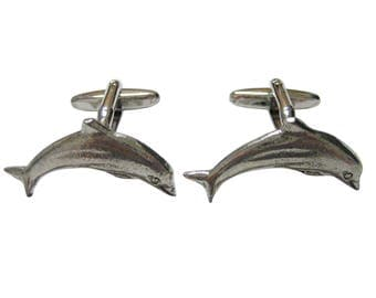 Silver Toned Textured Dolphin Cufflinks