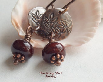 Small Reddish Brown Lampwork Glass Bead Drop Earrings with Stamped Leaves on Copper Disc Dark Chocolate Leaf Earrings Artisan Copper Jewelry