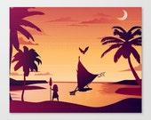 sunset moana disney pink hawaiian digital download..8x10 or 16x20.
