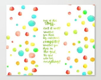look at this stuff, isn't it neat? ariel little mermaid watercolor typography quote, part of your world. digital file