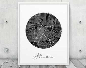 Houston Street Map Print. Houston City Urban Map Poster. Black & White Houston Texas Map Print. Geometric Map Wall Art Decor. Printable Art