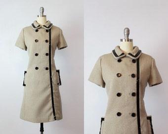 vintage 60s mod dress / 1960s peter pan shift dress / SHANNON RODGERS for Jerry Silverman dress / taupe black patent dress / coat dress