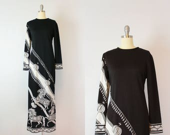 vintage 70s PAGANNE maxi dress / 1970s horse novelty print dress / black and white graphic print dress / derby dress