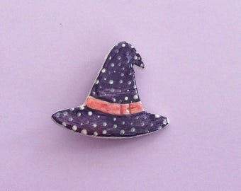 Witch Hat Handmade clay pin
