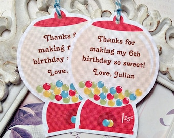 Personalized Gumball Machine Gift Tags (6) Candy Party-Candy Buffet-Thank You Tags-So Sweet Tags-Candy Gift Tags-Custom Favor Tags-Birthday