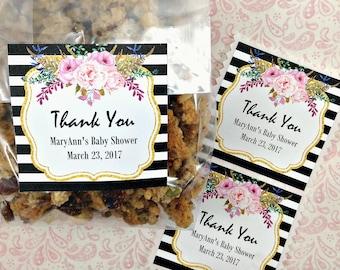 Personalized Floral Black Stripe Sticker (12) Thank You Sticker-Designer Baby Shower-Watercolor Party-Floral Bridal Shower-Treat Bag Sticker