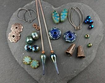 Blue/green earring inspiration pack. Handmade lampwork glass. Earring pairs.