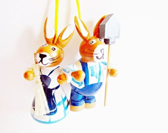 Pair of Lovely Vintage Wooden Bunny Ornaments Couple Gardener- Home decor for Easter