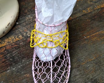 Basket, Shoe Form, Pink, Chicken Wire Basket, Painted Shoe Form, Pink Yellow Shoe, Wire Form, Metal Basket, Gift for Girls, Rustic Decor