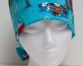 Ladies Surgical Scrub Hat - Chemo Cap - Pixie - Christmas Peanuts