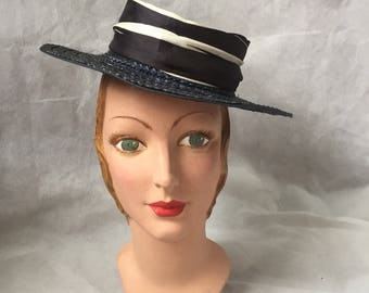 1930s blue straw boater