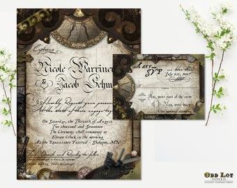 Nautical Wedding Invitation Pirate Wedding Invitation Offbeat Wedding Invitation DIY Printable Nautical Pirate Wedding Invitation Suite