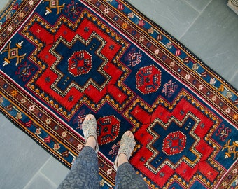 Vintage Caucasian Red Blue Rug Handwoven Wool Low Old Pile Rug - FREE DOMESTIC SHIPPING