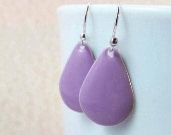 20% off sale Dangle Drop Earrings - Lavender Purple Epoxy Enamel Teardrops - Sterling Silver Plated over Brass (F-5)
