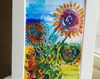Sunflower Dreaming, Mixed Water Media artwork, Floral, 4x6 postcard