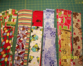 """25 - 2.5"""" by Width of Fabric Cotton Flannel Strips, Jelly Roll, Holiday and Winter Prints"""