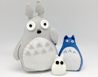 Totoro plush, felt totoro, totoro decor, forrest spirit toy, handmade totoro, totoro fans, totoro collection, my neighbor totoro