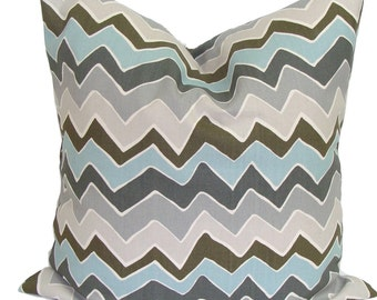 BLUE CHEVRON PILLOW Sale.16x16 inch.Decorative Pillow Cover.Housewares.Home Decor.Blue Gray Pillow Cover.Pillow Cover.Pillows.Zig.Chevron