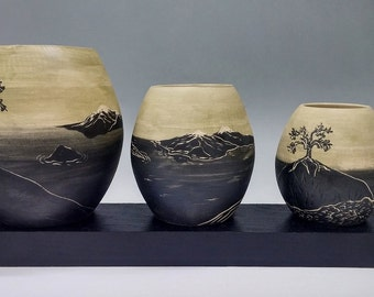 Painted Ceramic Landscape Vases, Set of 3: Artifact Collection