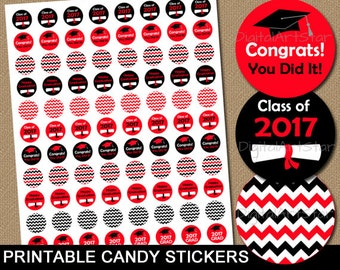 2017 Graduation Candy Stickers Red and Black - High School Graduation Candy Labels - Graduation Party Favors - Graduation Stickers G3