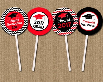 Red and Black Graduation Cupcake Toppers, DIY High School Graduation Printable, Class of 2017 Graduation Cupcake Picks, INSTANT DOWNLOAD G3