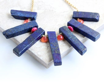 Lapis Necklace with Melon Chalcedony - Blue, Peach, Gold Chain, Statement Necklace
