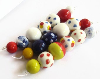 African beads, Handmade beads from South Africa, 3 bead strands, African Bead shop, Clay beads, Artisan Beads, red, blue, white, African