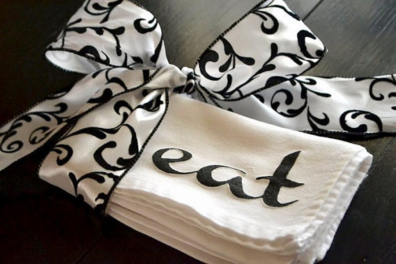 EAT Cloth Napkins Screened on White Napkins with the word EAT in Black Paint ...  SET of 4
