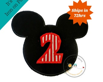 Red and black mouse birthday number 2 with red stripes,  2nd birthday patch for girl, mickey inspired iron on applique, ready to ship