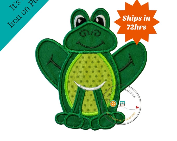 Dark green frog, lime green spotted tummy, sitting two-toned frog, summer iron on applique, cotten patch for tshirt, backpack, or jacket