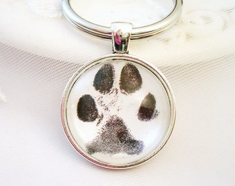 PAW PRINT Key Chain Dog Paw or Cat Paw Print Pet Lover Gift Dog Lover Gift Thumb Prints Charm Fingerprints Key Chain Charm Dog or Cat Charm