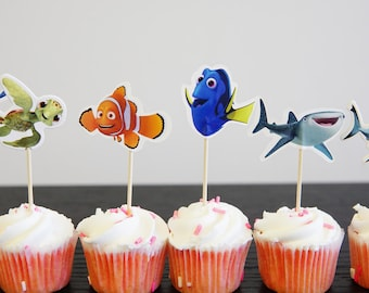 24 Finding Dory cupcake toppers Dory cake toppers food picks double sided Nemo Dory
