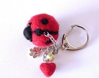 Ladybug hanging charm,  Needle felted Ladybug  Love bug Purse Charm, Bag Charm, Felted  Ladybird charm