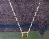 SALE 15% OFF Hill Tribe Silver Cube Necklace with Sterling Silver Chain