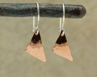 Hammered Copper Triangle Earrings, Hammered Copper Earrings, Hammered Earrings, Small Earrings, Small Copper Earrings