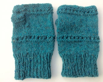Wool and Alpaca Handknitted Handwarmers Fingerless Mitts Sea Green