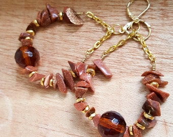 Sandstone Earrings - Raw Gemstone Earrings - Gemstone Hoop Earrings - big earrings - raw sandstone nugget earrings - gifts for her