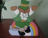 Leprechaun, bear, St. Pat's Day, St. Patrick's Day, St. Paddy's Day, shelf sitter, green, handpainted, wood, rainbow, pot of gold, shamrock